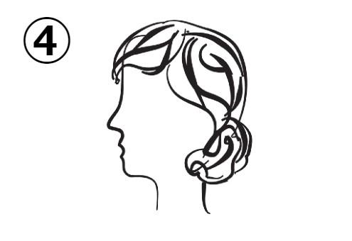 髪を軽くまとめた、真顔の女性の横顔