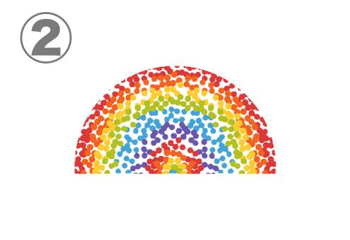 細かいドットが集まった虹