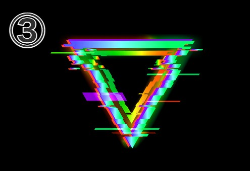 紫、緑、水色、オレンジの逆三角