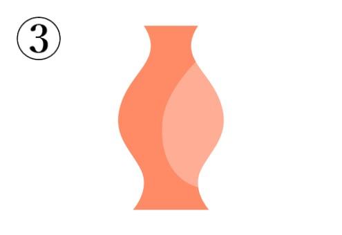 中心が膨らんだ、オレンジの花瓶
