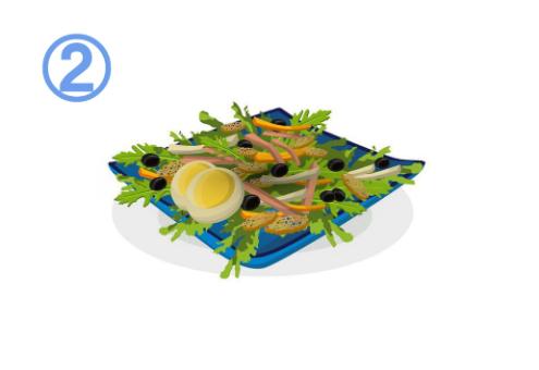 卵、オリーブ、ラスク、パプリカ等のサラダ