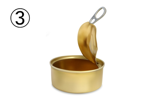 蓋の開いた金の缶