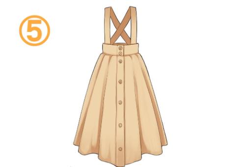 ベージュの吊りスカート