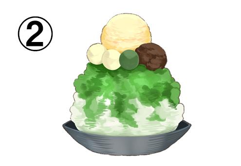 バニラアイス、白玉、あんこののった抹茶かき氷