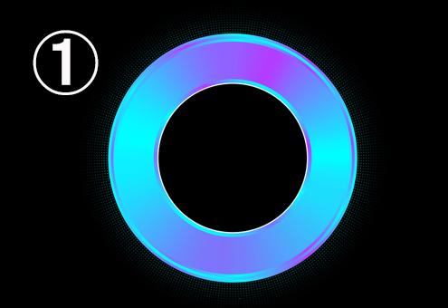 紫、水色、青のグラデーションのリング