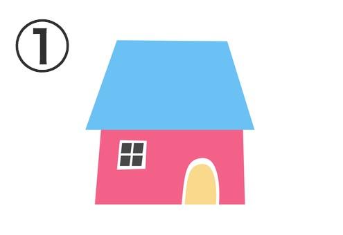 水色の屋根、ピンクの壁、クリーム色のドアの家