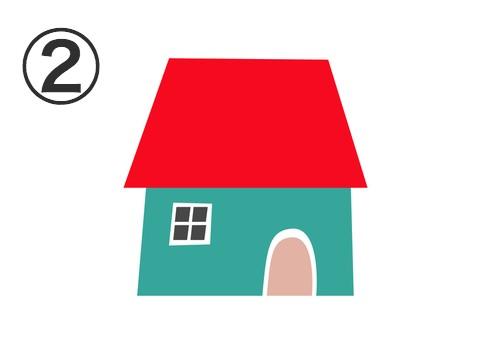赤い屋根、緑の壁、ベージュのドアの家