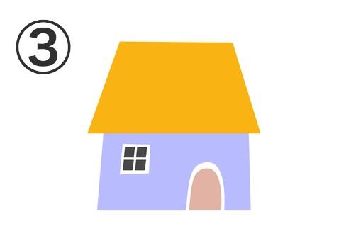 オレンジの屋根、紫の壁、ベージュのドアの家