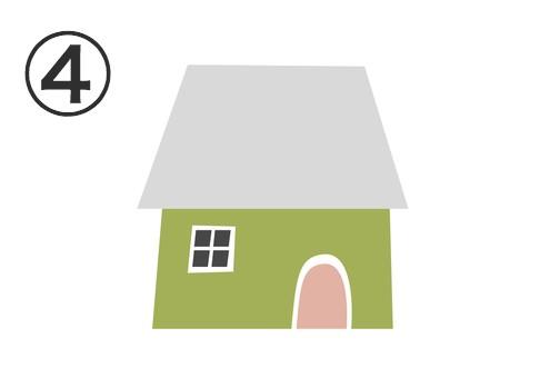グレーの屋根、抹茶色の壁、ベージュのドアの家