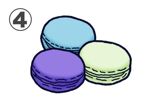 くすみブルー、薄緑、青紫のマカロンのセット