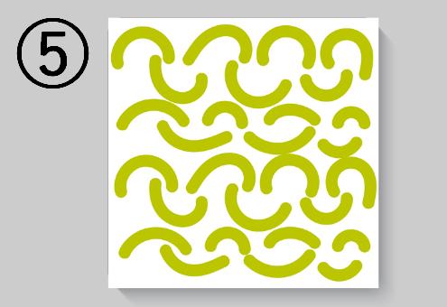 黄緑の曲線柄
