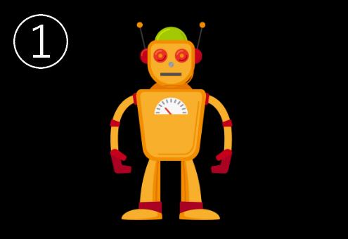 メーター付き、頭が黄緑の、オレンジのロボット