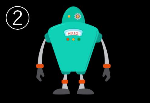 メーターのようなものがついた、エメラルドのロボット