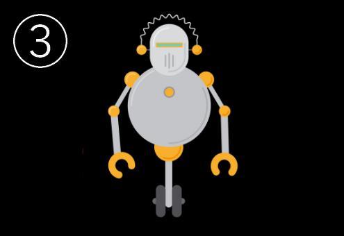 車輪付きのグレーと黄色の丸いロボット