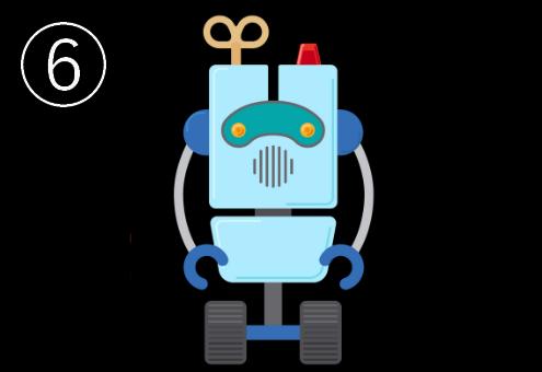 ぜんまい付きの水色の四角いロボット