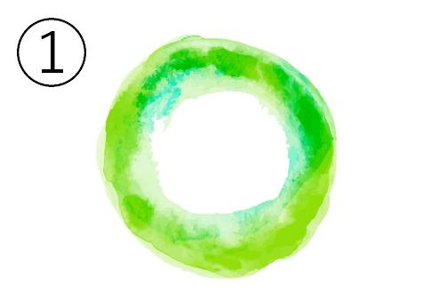 黄緑、エメラルドのグラデーション丸