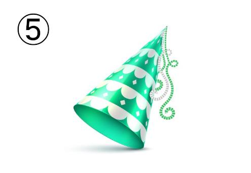 エメラルド地に白いふわふわ線のパーティー帽