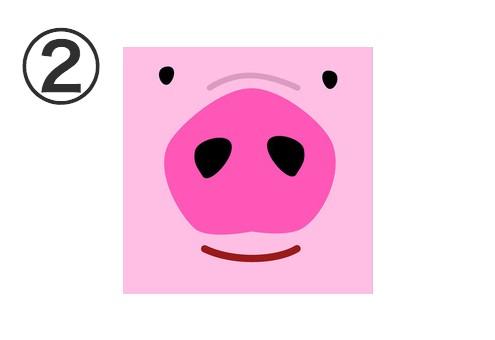 濃いピンクの笑った豚