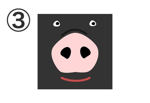 鼻がピンク、顔が黒の笑った豚