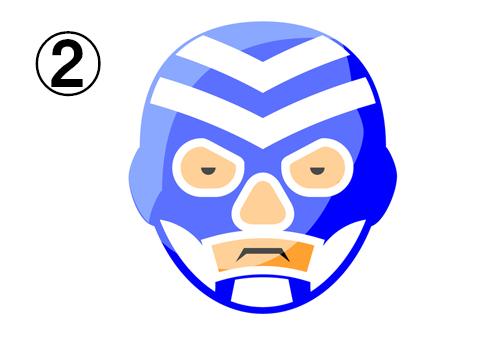 直線的な柄の青いレスラーマスク