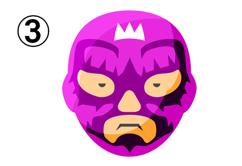 王冠、ギザギザ柄の紫のレスラーマスク
