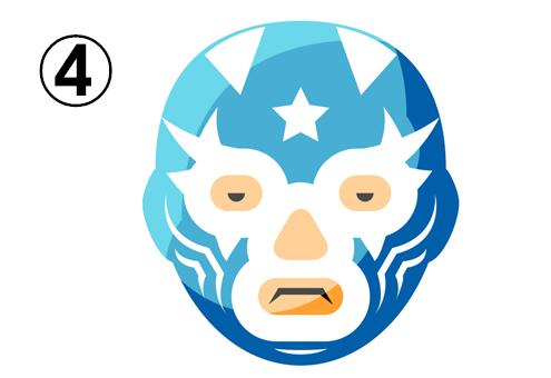 星マーク、ギザギザ、細い線の柄の水色のレスラーマスク