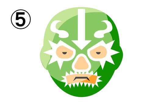 白いギザギザ、曲線、矢印柄の緑のレスラーマスク