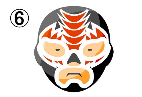 赤いギザギザ柄の黒いレスラーマスク
