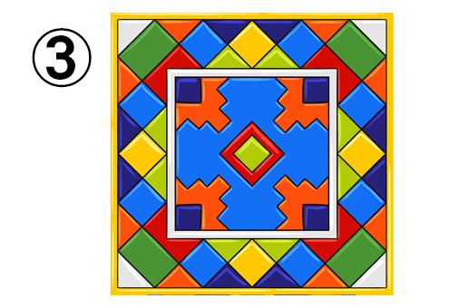 全体的にカラフルな、四角柄中心のタイル