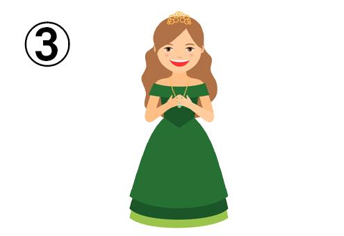 ティアラ、緑のオフショルドレス