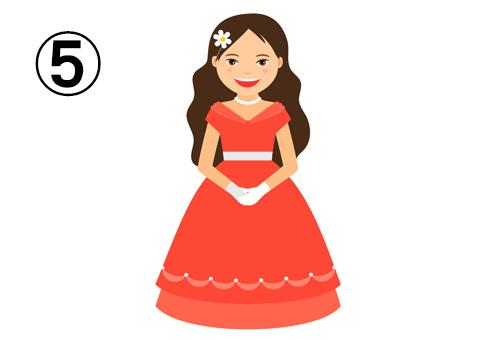 コーラルオフショルドレス、白い手袋とネックレスと髪飾りの花