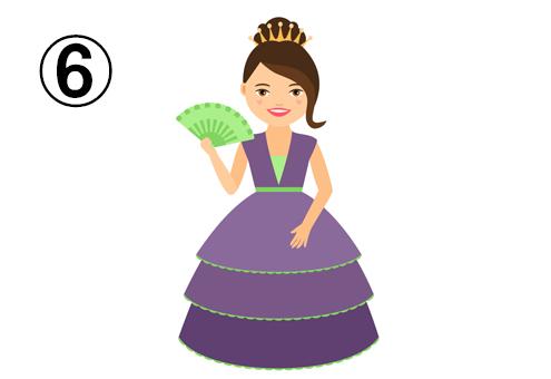 緑の扇子、紫のドレス、ティアラ
