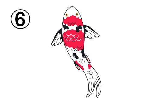上に泳ぐ、赤、黒、白の鯉