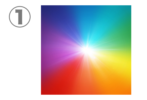 青、水色、緑、黄色、オレンジ、赤、紫のグラデーション