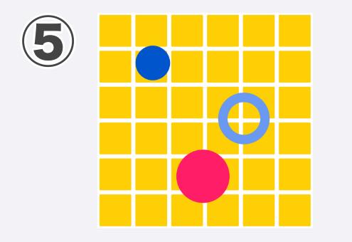 タイル状の黄色背景、青、ショッキングピンク丸、水色リング