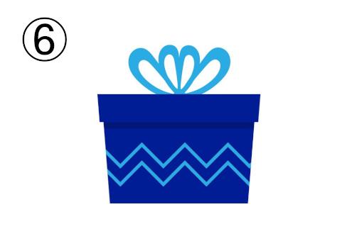 水色リボン、水色ギザギザライン入りの青いプレゼント