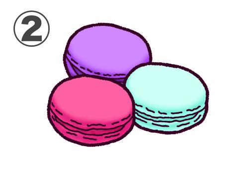 ビビットな紫、ピンク、水色のマカロンのセット