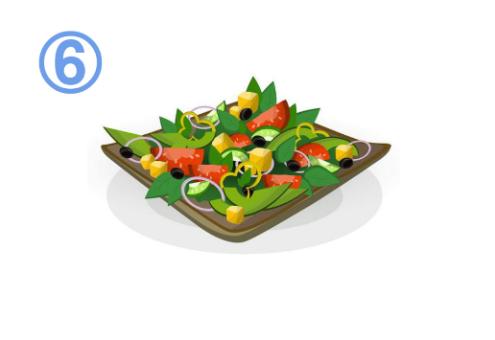 オリーブ、アボカド、トマト、クルトン、パプリカ等のサラダ