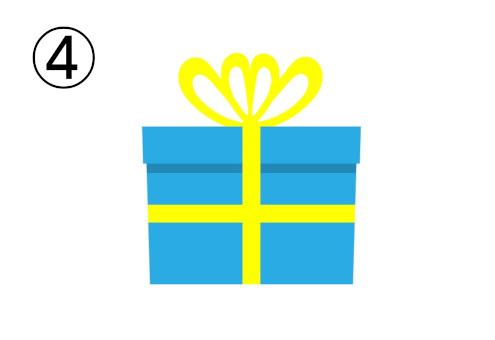 黄色リボンの水色のプレゼント