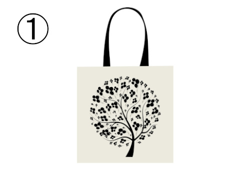 丸でできた花びらの花型の葉の木が描かれた白トート