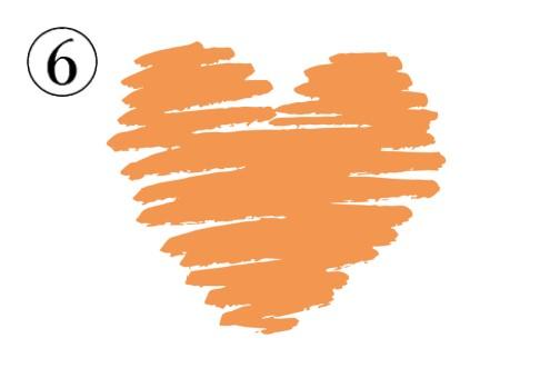 横向きに塗り進めたオレンジのハート