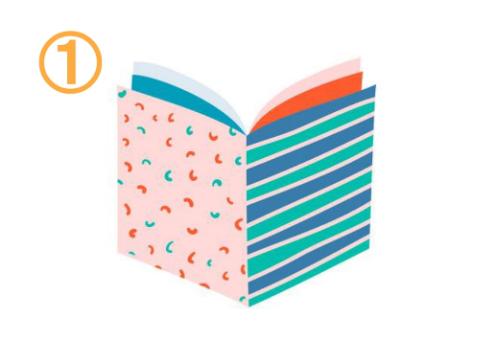 左は薄ピンクに赤とターコイズの細かい柄、右はネイビーと溝理と水色のボーダー、中はターコイズとオレンジの本