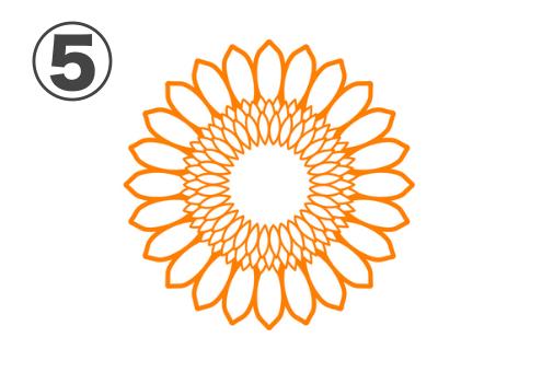 花びら白抜き、中心部が白いひまわり