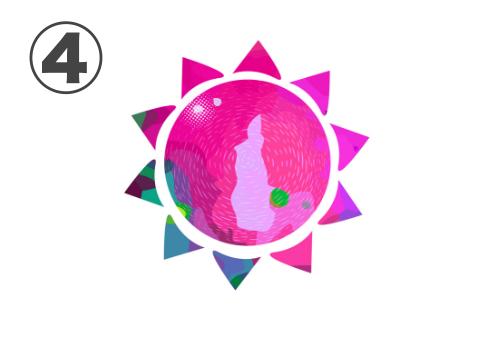 ピンク、紫、エメラルドの太陽