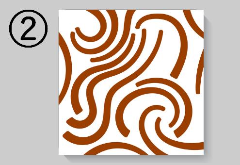 茶色の大きめ曲線柄