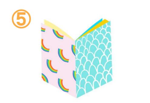 左は薄ピンクに虹柄、右はターコイズにウロコ柄、中は黄色、水色の本