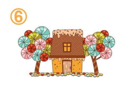 両側にキャンディの木があるお菓子の家