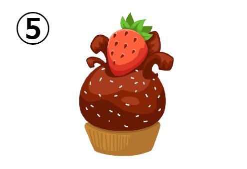 いちごが乗った、チョコのカップケーキ