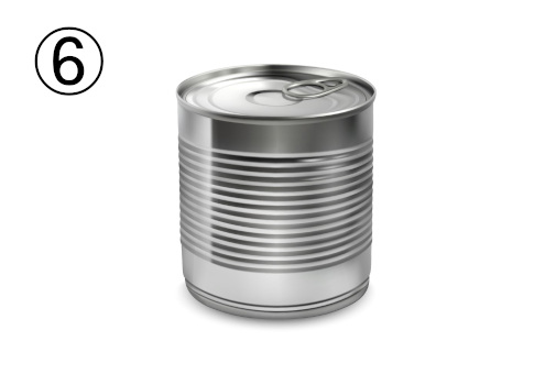 細い線の入ったシルバーの缶
