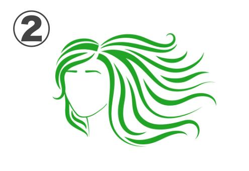 右側になびく緑のミディアムヘアの女性
